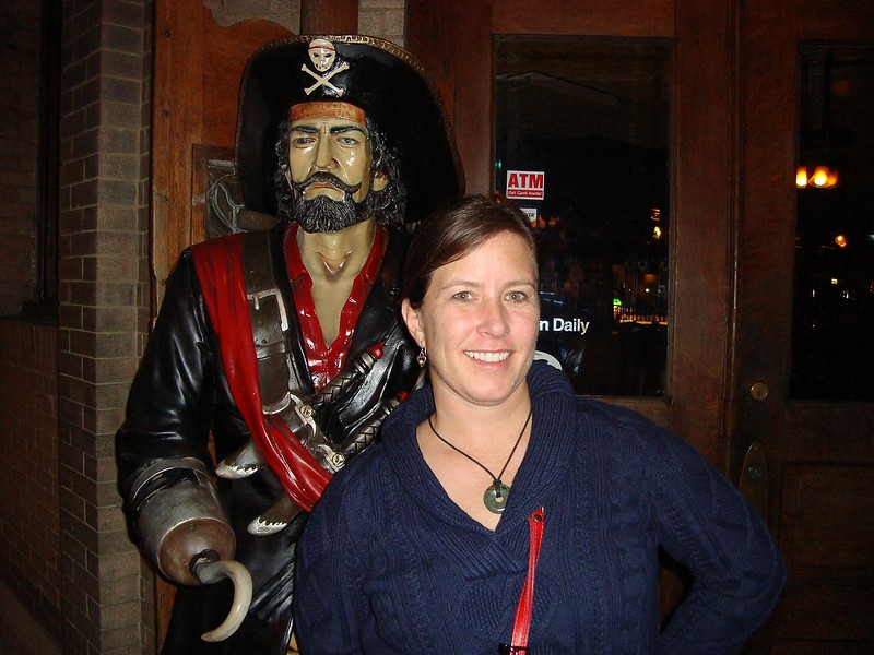 The Palace Saloon's Pirate takes a moment out of his evening to pose with Erin.  Aaarrrhhhhh!