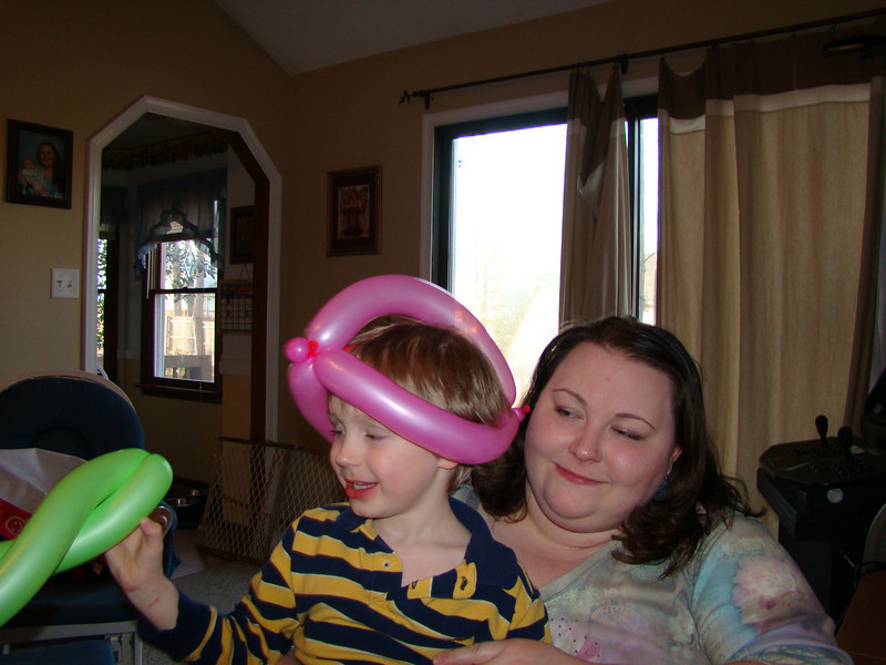 balloon hat Aidan got at a birthday party for a kid in his class