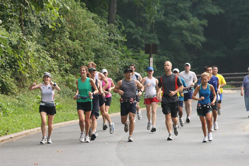 First Time Marathon Program Grosvenor to Union Station point to point run near Pierce Mill in Washington DC. Popsicle Break. -- Photo by Ken Trombatore