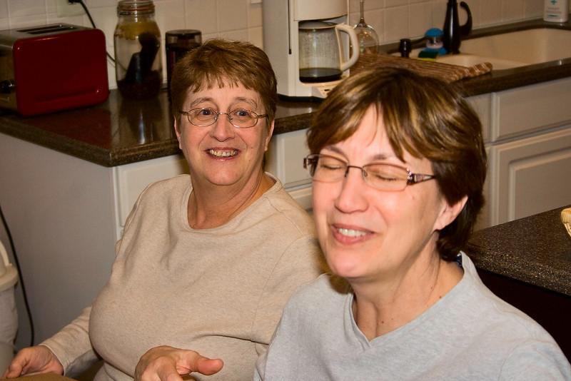 Here are the sisters.  Something is funny.