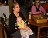 Granny Colelli holds grandson Ethan.  Holly is happy to have break.  We're not too sure about that Yuengling baby bottle on the table.  Doesn't seem prudent.
