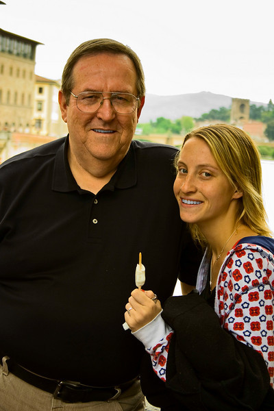 Don't I look studious.  Julia and I on the Ponte Vecchio