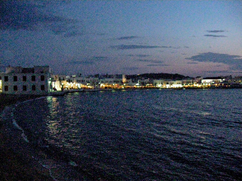 Here's a grainy view of the town of Mykonos as we walked in from the ship.  Taken with my video camera