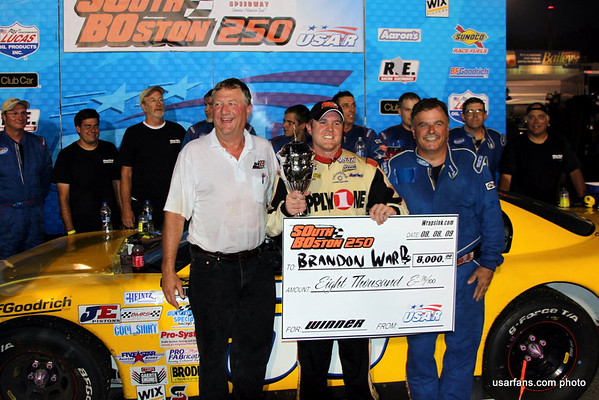 Jack McNelly (team owner), Brandon Ward, and Tony Lambert (crew chief) enjoying Victory Lane photos