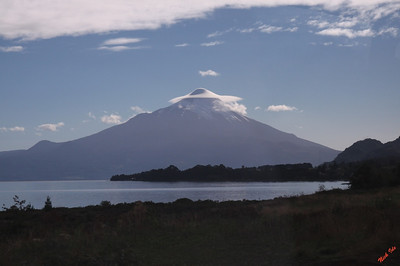 Lenticular cloud over volcano near Puerto Montt, Chile.