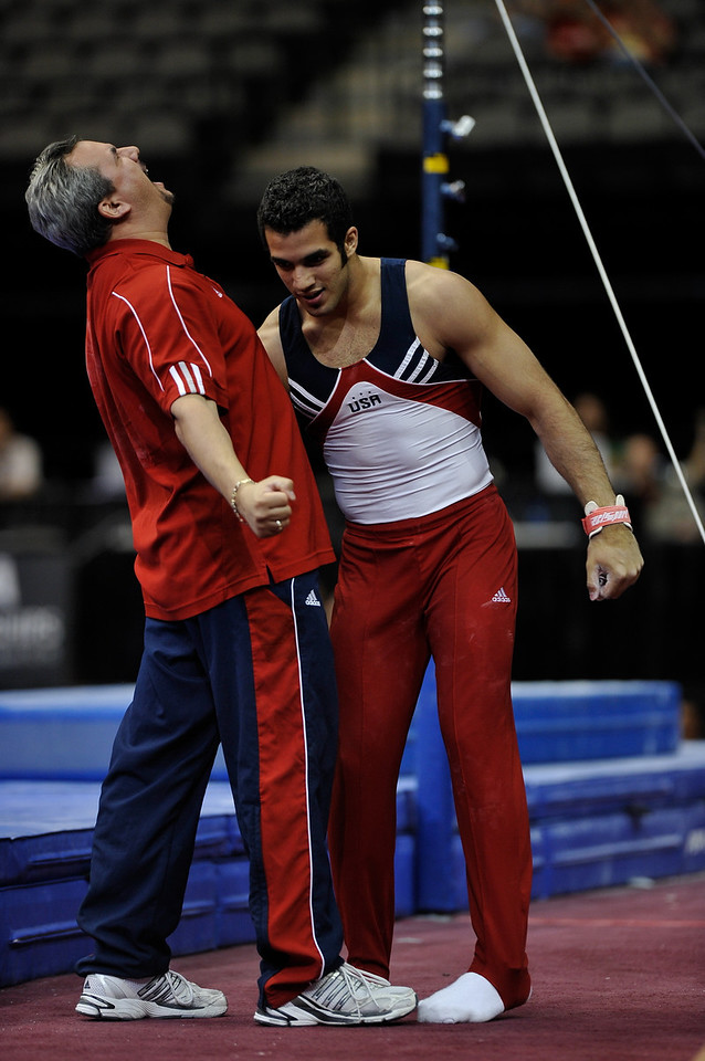 2009 Visa Championship:  Men Competition (Aug. 12th - 15th) <br /> #41 Danell Leyva & Head Coach of Universal in action at the American Airlines Center in Dallas, Texas.