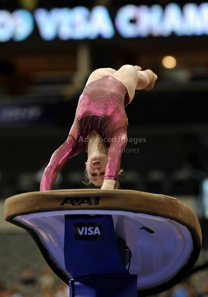 2009 Visa Championship:  Women's Competition (Aug. 12th - 15th) <br /> Rebecca Bross of WOGA in action at the American Airlines Center in Dallas, Texas.