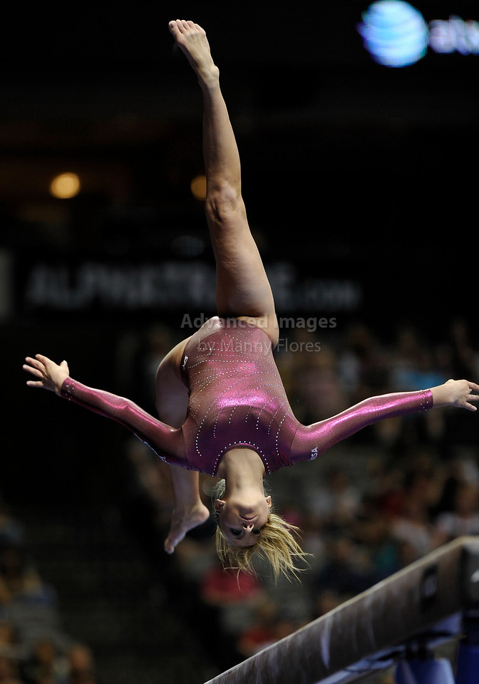 2009 Visa Championship:  Women's Competition (Aug. 12th - 15th) <br /> Nastia Liukin of WOGA (2008 Olympic Gold Medalist) in action at the American Airlines Center in Dallas, Texas.