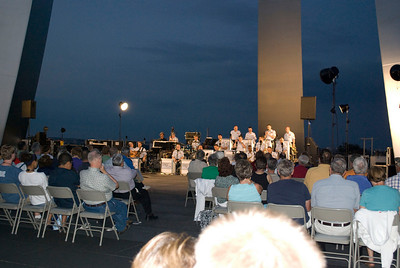 Friday night's Air Force band warms up before the concert...