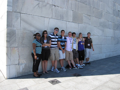 Copping a little shade during the wait to go up in the Washington Monument.