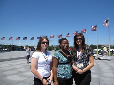 Three friends at the Washington Monument waiting area.