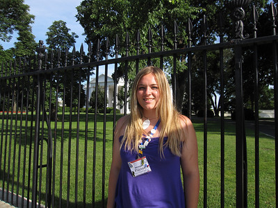 Payton Lupu in front of the White House.