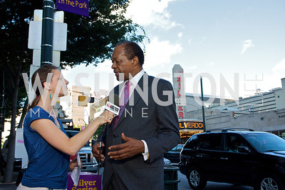 Marion Barry being interviewed (Photo by Tony Powell)