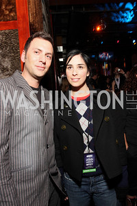 Michael Clements, Sarah Silverman. Artists Making An Impact Party. FUR Nightclub. Photo by Tony Powell