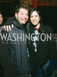 Jeffrey Ross, Sarah Silverman. Artists Making An Impact Party. FUR Nightclub. Photo by Tony Powell