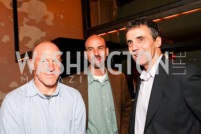 Mark Leibovich, James Bennet, Bill Hamilton. Book party for Born Round by Frank Bruni. Comet Ping Pong. September 29, 2009. photos by Tony Powell