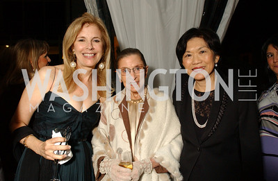 Jane Cafritz, Supreme Court Justice Ruth Bader Ginsburg, Singapore Ambassador Chan Heng Chee  Jane and Calvin Cafritz open their northwest Washington, DC home for their annual catching-up-with-friends party on Friday, September 11, 2009.  The party is designed to share summertime stories and reconnect with friends less seen since June.  (James R. Brantley)