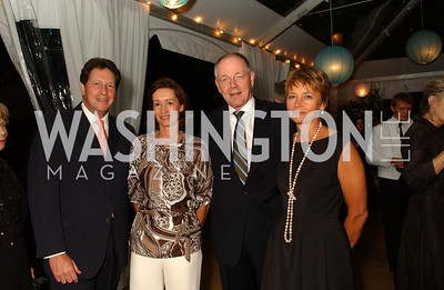 British Ambassador Sir Nigel Sheinwald, Laurel Colles, Finnish Ambassador Pekka Lintu, Lady Julia Sheinwald.  Jane and Calvin Cafritz open their northwest Washington, DC home for their annual catching-up-with-friends party on Friday, September 11, 2009.  The party is designed to share summertime stories and reconnect with friends less seen since June.  (James R. Brantley)