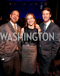 George Wolf, Rachel Goslins, Edward Norton. 2009 Coming Up Taller Awardees Reception. Kennedy Center Terrace Gallery. November 3, 2009. photos by Tony Powell