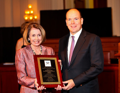 Speaker Nancy Pelosi and HSH Prince Albert II of Monaco. ICCF Congressional Dinner Honoring HSH Prince Albert II of Monaco. Cannon Caucus Room. October 20, 2009. photos by Tony Powell