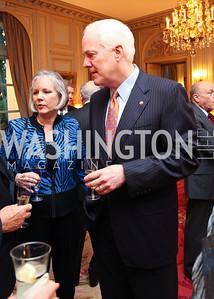 Sandy Hansen and Sen. John Cornyn. A dinner in honor of Ambassador and Mrs. Sam Fox. Belgian Ambassador's residence. October 5, 2009. photos by Tony Powell