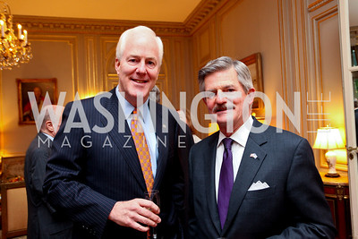 Sen. John Cornyn and Secretary Jim Nicholson. A dinner in honor of Ambassador and Mrs. Sam Fox. Belgian Ambassador's residence. October 5, 2009. photos by Tony Powell