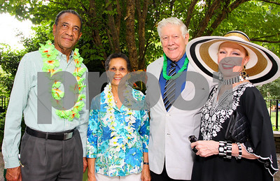Jamaican Ambassador Anthony Johnson, Pamela Johnson, General Lawrence Skantze, Pat Skantze, Photograph by Tony Powell