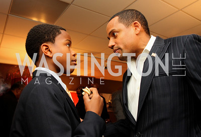"""Foundation apprentice """"Brandon Pizarro"""" with founder """"Hill Harper"""" Honorary Chairs Hill Harper and The Honorable James Clyburn host a cocktail reception and fundraiser for Manifest Your Destiny Foundation at Fendi Casa May 13, 2009 (photo by Tony Powell)"""