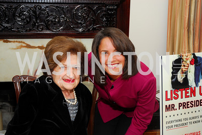 Helen Thomas, Suzanne Malveaux. Thomas/Crawford Book Party. Photograph by Kyle Samperton,October 19,2009