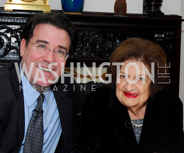 Craig Crawford, Helen Thomas. Thomas/Crawford Book Party. Photograph by Kyle Samperton,October 19,2009.