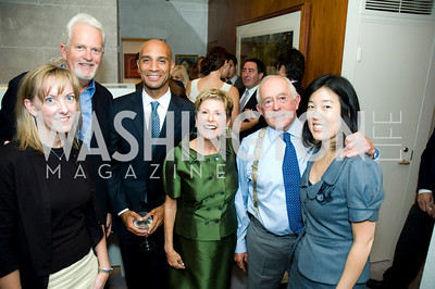 Please ask Nancy for name of lady with blonde hair, Don Brown, Michelle Rhee, The Honorable Ann Brown, Jack Davies, Mayor Adrian Fenty. VPP Reception. Ann Brown's House. September 23, 2009. Photos by Betsy Spruill Clarke.