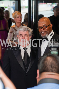 George Lucas and Samuel L Jackson. White House Correspondents Dinner Red Carpet 2009. Photos by Jonah Koch.