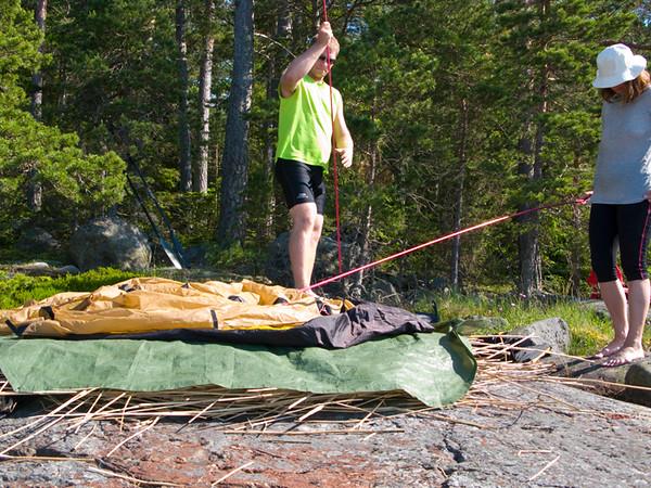 Ibland lutade berget, då får man hitta på metoder för att få en god sömn.
