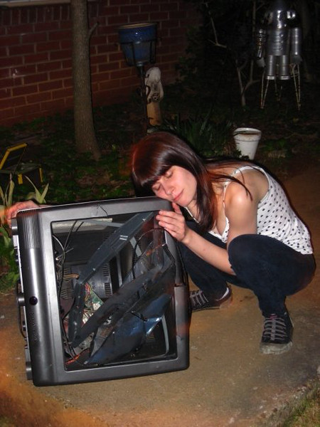 Mary says goodbye to her old TV