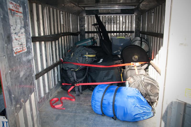 Music gear loaded in the trailer
