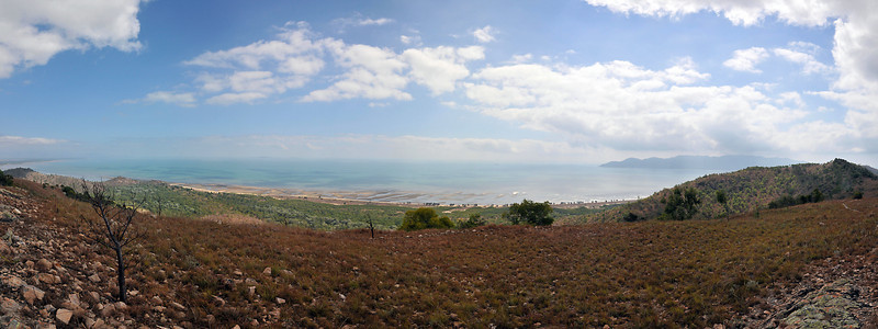 Panorama, from the top of Mt Marlow, looking North, Magnetic Island in the far right background