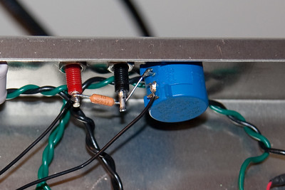 Variable bias rear view -- a 1 ohm resistor between the test points, and a high precision 1k 2W pot for adjustment