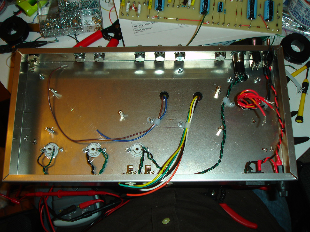 Routing wires in the chassis -- I really want to avoid the buzz/hum that my first (hi-fi) tube amp suffered from, so I'm being very careful about lead dress this time