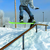 Citizen photo by Brent Braaten Nathan Lipus, 18, rides the rail at Rotary Skate Park on a snow board Monday over the lunch hour. He is a skateboarde that just learned to snowboard about a month ago.