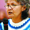 Edith Frederick contributes the idea of the importance of revitalizing and preserving the native language. Citizen photo by David Mah