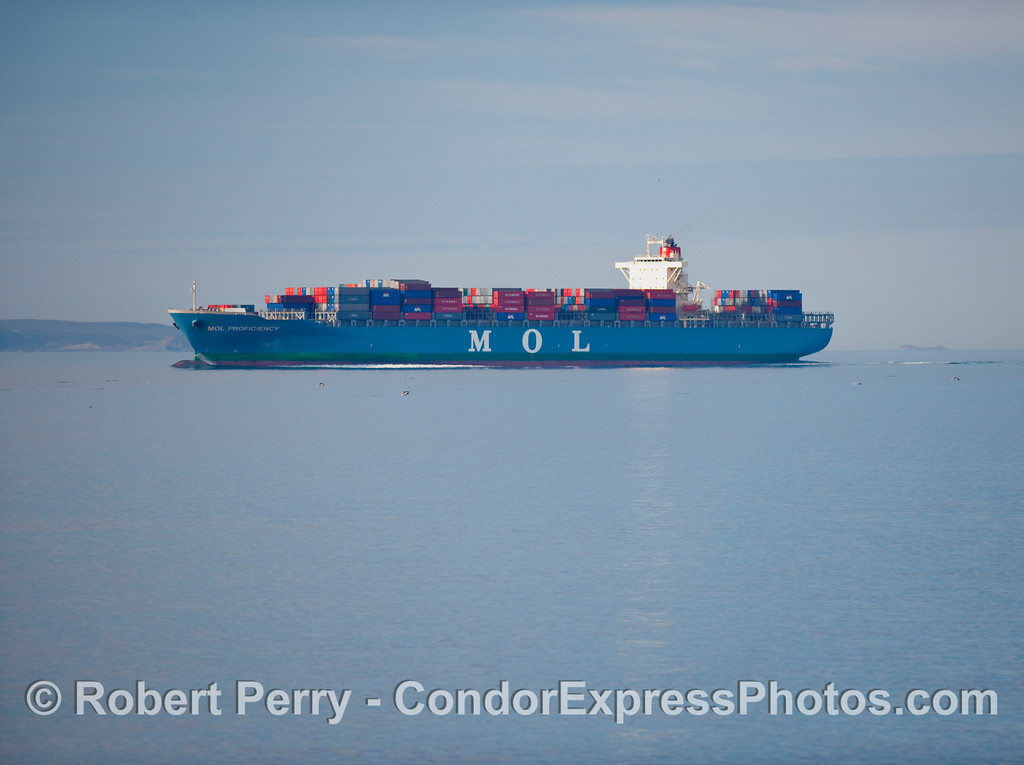 Image 1 of 2;  The container cargo vessel 'MOL Proficiency' moving east as it enters the southbound coastal shipping lanes at the western end of the Santa Barbara Channel.  The next photo is a close up showing the common dolphins in the water around the boat.