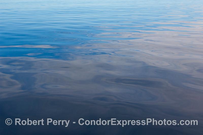 Oily glass - Beaufort sea state zero;  80 miles offshore from Santa Barbara.