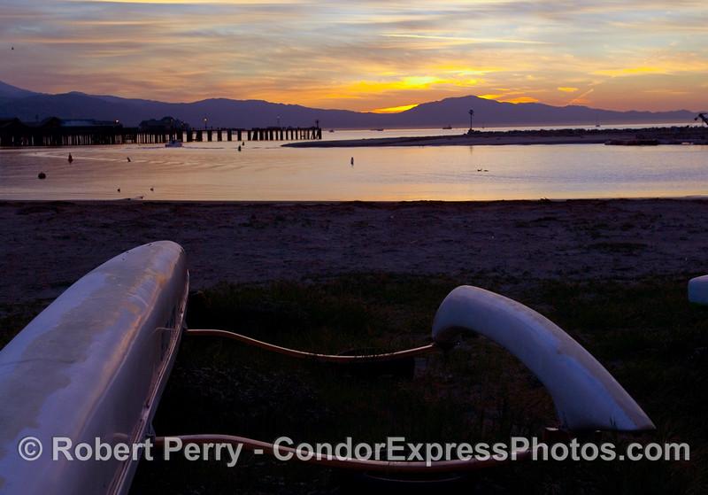 Outriggers on the beach - Dawn in Santa Barbara.