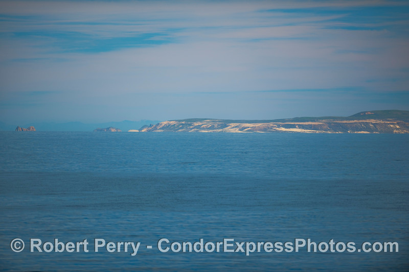 Looking at the western end of San Miguel Island - Point Bennett in the middle, and Castle Rock off to the left side.