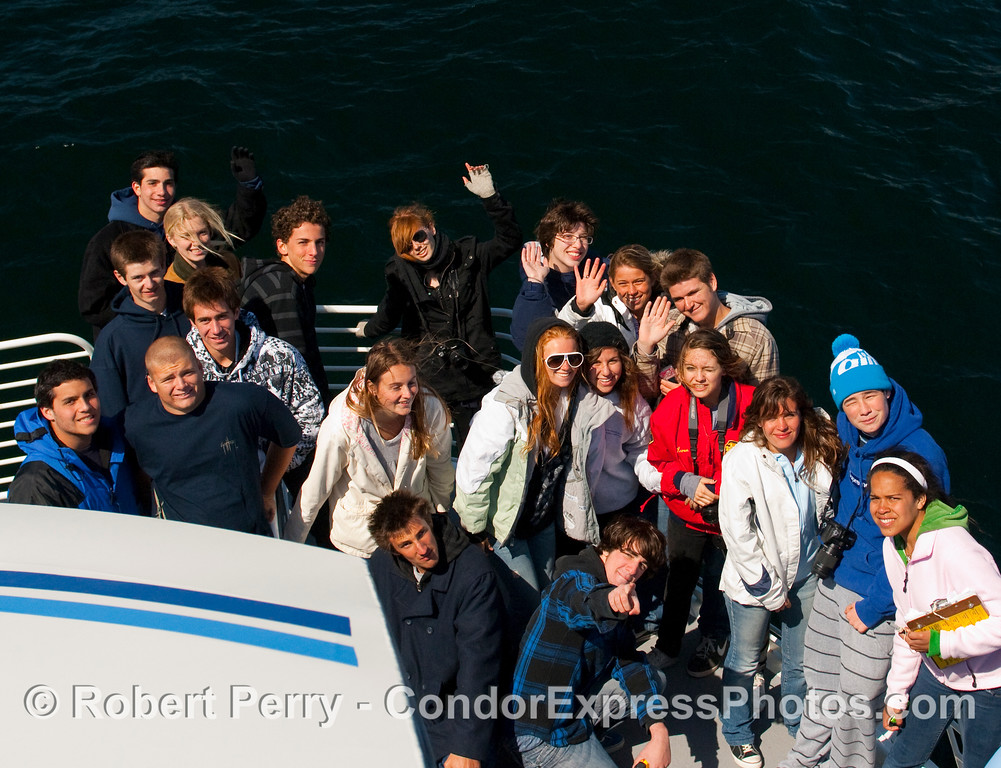 Malibu High School's Honors Marine Biology class (minus two camera shy people).  On the bow of the Condor Express.