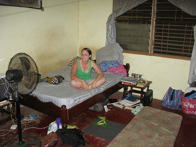 Alicia sitting on Stacia's bed in Tema, Ghana.   This is where we stayed the first night- I slept on the mattress on the floor.  Stacia has running water most of the time.   Tema is close to Accra, which is where I flew into the night of the 9th.   It is too dangerous to travel all the way up to Alicia's site at night.