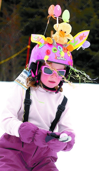 Seven-year-old Nadine Finch, and many other young skiers dressed for the Easter events at Purden Mountain Sunday. Here, Nadine competes in the egg and spoon race. Citizen photo by David Mah
