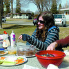 Alauna Brown, left, Emma Church, and Marika Vanderpol, took advantage of a sunny break to have lunch at Fort George Park Wednesday. Citizen photo by David Mah