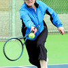 Marianne Witt returns a shot to Sandra Sutton during the first game of the season at the Prince George Tennis Club. The snow has finally gone but not the cool tempertures.  Citizen photo by David Mah