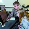 Van Bien elementary students Alexander Bihori, 8, left, and Tianna Kozak, 8, work on a computer-generated presentation during the School District 57 Tech Fair in the UNBC computer labs. 110 students took part in the 2nd annual tour of the University. Citizen photo by David Mah